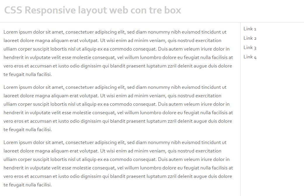 CSS Responsive layout web con tre box